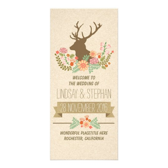 Elegant rustic deer wedding programs rack card