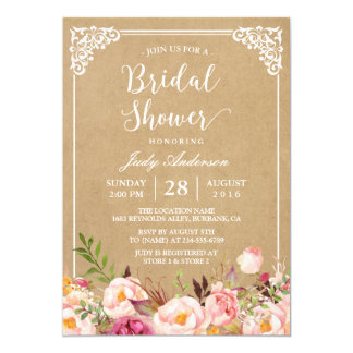 Elegant Rustic Floral Frame Kraft | Bridal Shower Card