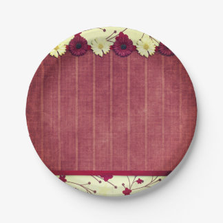 Elegant Rustic Flowers Wedding Paper Plate