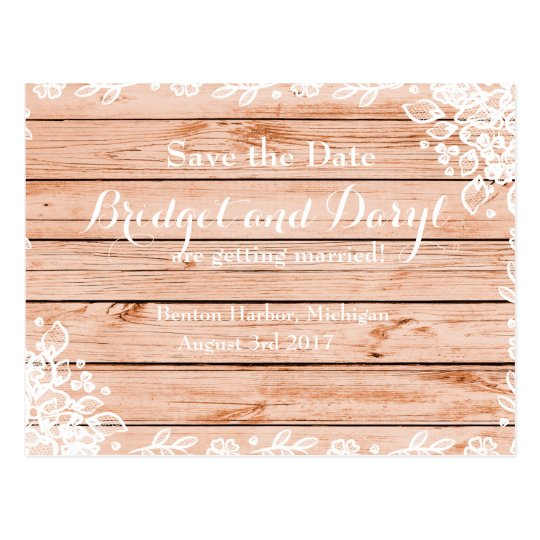 Elegant Rustic Lace and Wood Save-the-Date Wedding Postcard