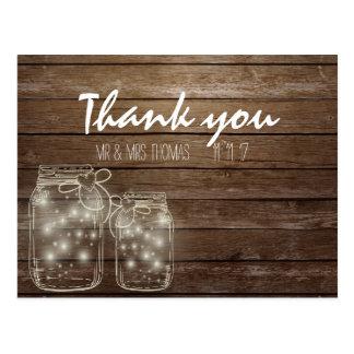 Elegant Rustic Mason Jar Lights Thank You Postcard