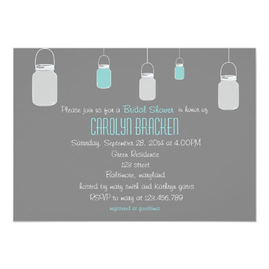 Elegant Rustic Mason Jars Bridal Shower Invite