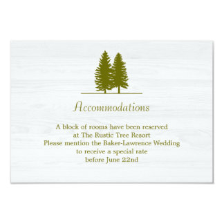 Elegant Rustic Pine Trees on White Wood Background 9 Cm X 13 Cm Invitation Card