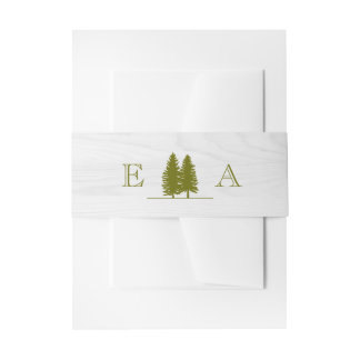 Elegant Rustic Pine Trees on White Wood Background Invitation Belly Band