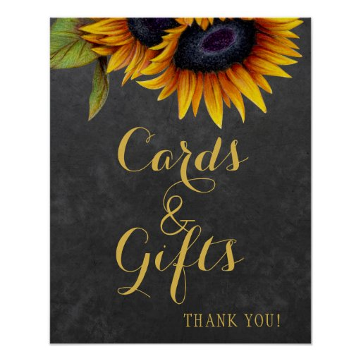 Elegant rustic sunflowers cards and wedding sign