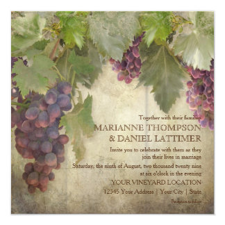 Elegant Rustic Vineyard Winery Fall Wedding 13 Cm X 13 Cm Square Invitation Card