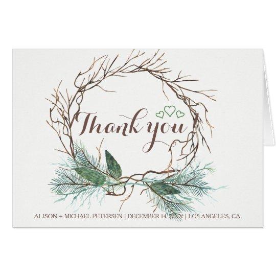 Elegant rustic winter thank you wedding card