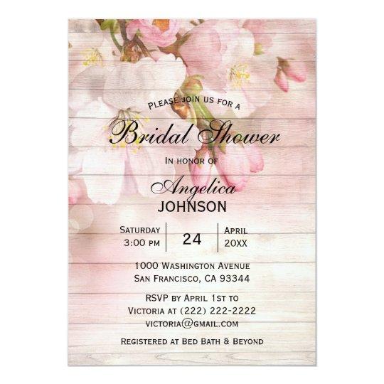 Elegant Rustic Wood Cherry Blossom Bridal Shower Card