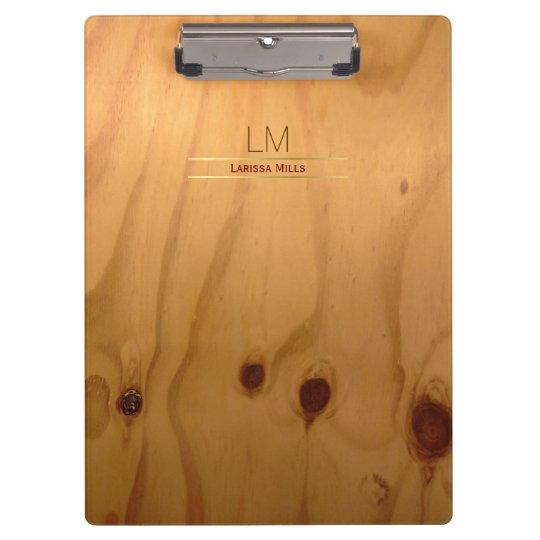 elegant & rustic wood texture personalised clipboard