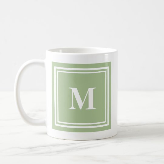 Elegant Sage Green Coloured Block Frame Monogram Coffee