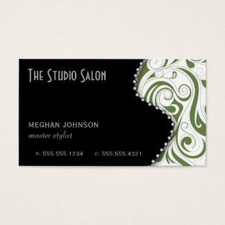 Elegant Sage Swirly Swirl Business Card Template