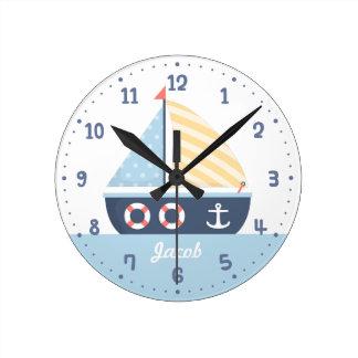 Elegant Sail boat Nautical Theme For Boys Room Round Clock