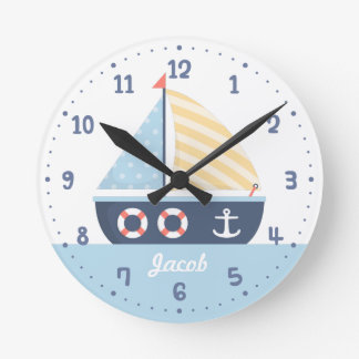 Elegant Sail boat Nautical Theme For Boys Room Wallclocks