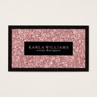Elegant Salmon Pink Glitter With Black Accents