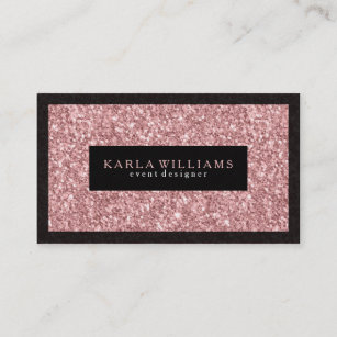 Pastel pink sparkles glitter business cards zazzle uk elegant salmon pink glitter with black accents business card colourmoves