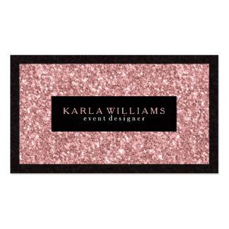 Elegant Salmon Pink Glitter With Black Accents Pack Of Standard Business Cards