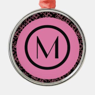 Elegant Salmon & Pink Parisian Initial Monogram Christmas Ornament