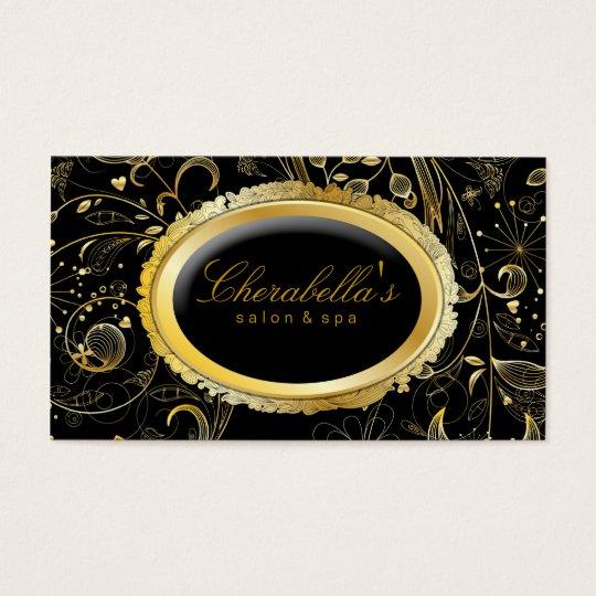 Elegant Salon Spa Floral Gold Black Business Card
