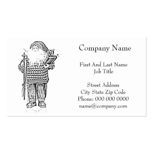 Elegant Santa in Christmas Sweater Pencil Drawing Business Cards
