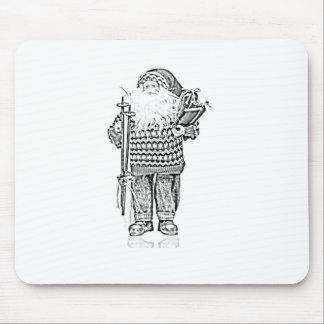 Elegant Santa in Christmas Sweater Pencil Drawing Mouse Pads