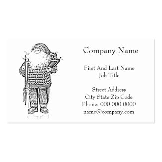 Elegant Santa in Christmas Sweater Pencil Drawing Pack Of Standard Business Cards