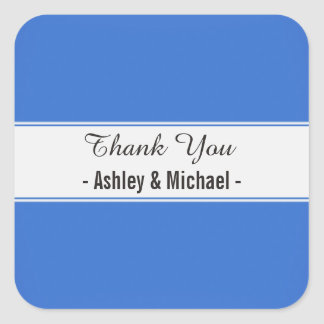 Elegant Sapphire Blue Thank You Square Sticker