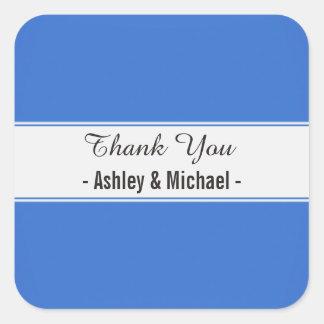 Elegant Sapphire Blue Thank You Square Sticker