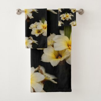 Elegant Satin Flowers on Black Bath Towel Set