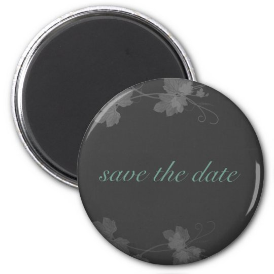 Elegant Save The Date Blue and Black and White Vin 6 Cm Round Magnet