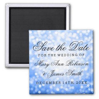 Elegant Save The Date Blue Glitter Lights Square Magnet