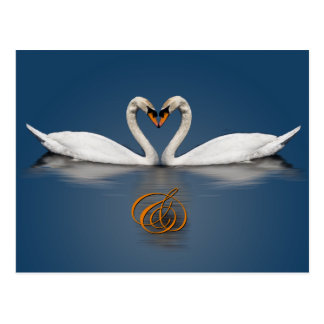 Elegant Save The Date Card Swans Photo Heart Postcard