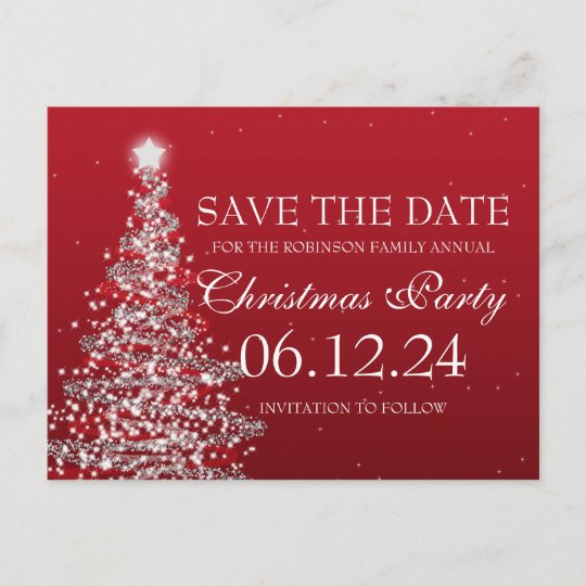 Elegant Save The Date Christmas Party Red Announcement Postcard
