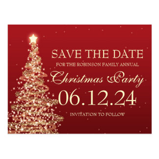 Elegant Save The Date Christmas Party Red Postcard