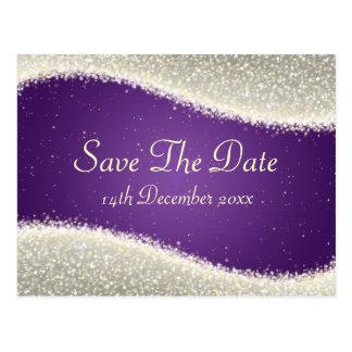 Elegant Save The Date Dazzling Sparkles Purple Postcard