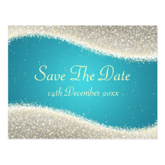 Elegant Save The Date Dazzling Sparkles Turquoise Postcard