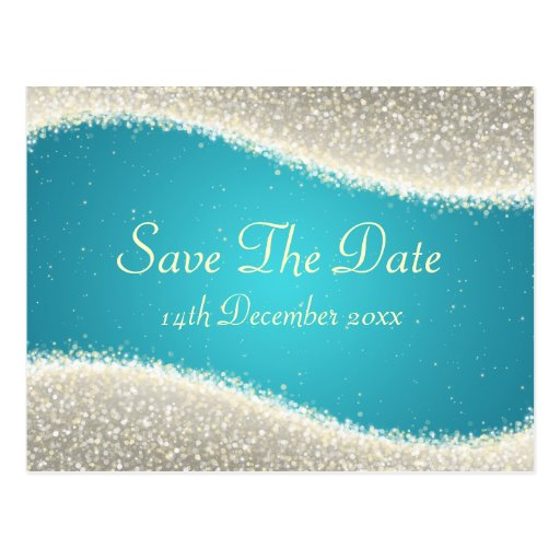 Elegant Save The Date Dazzling Sparkles Turquoise Post Cards