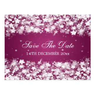Elegant Save The Date Dazzling Stars Berry Pink Postcard