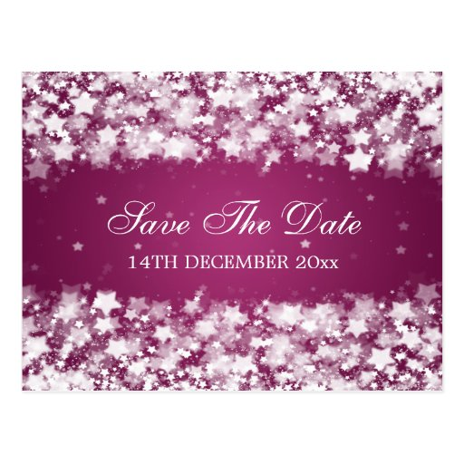 Elegant Save The Date Dazzling Stars Berry Pink Postcards