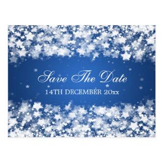 Elegant Save The Date Dazzling Stars Blue Postcard