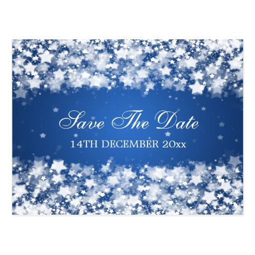 Elegant Save The Date Dazzling Stars Blue Post Cards