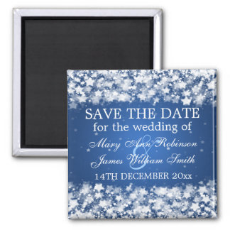 Elegant Save The Date Dazzling Stars Blue Square Magnet