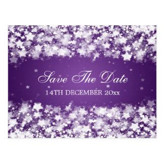 Elegant Save The Date Dazzling Stars Purple Postcard