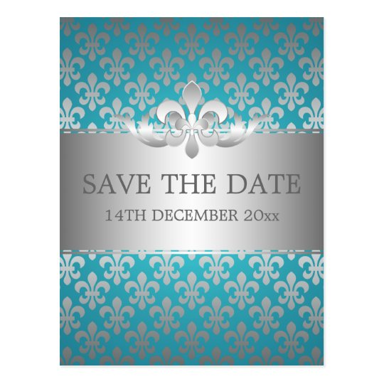 Elegant Save The Date Fleur De Lis Blue