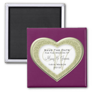 Elegant Save The Date Glitter Heart Gold Purple Square Magnet