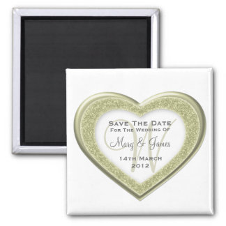 Elegant Save The Date Glitter Heart  Gold White Magnet