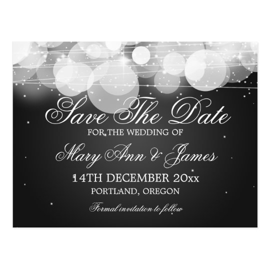 Elegant Save The Date Glow & Sparkle Black