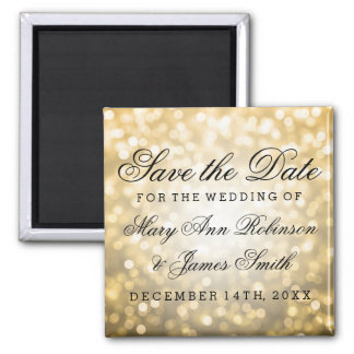 Elegant Save The Date Gold Glitter Lights Square Magnet