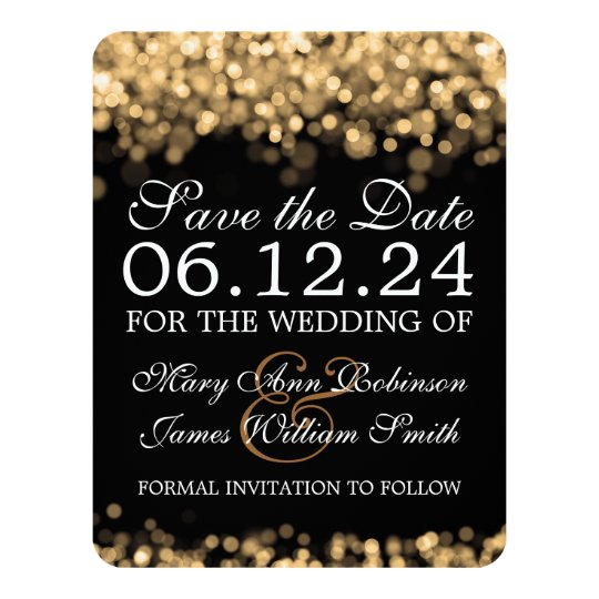 Elegant Save The Date Gold Lights Card