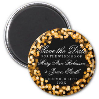 Elegant Save The Date Gold Sparkly Lights 2 Inch Round Magnet