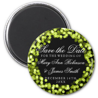 Elegant Save The Date Green Sparkly Lights 6 Cm Round Magnet